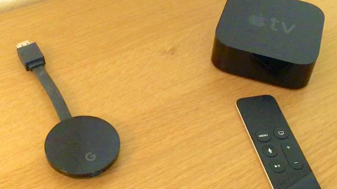 Att använda Google Chromecast eller Apple TV för att titta